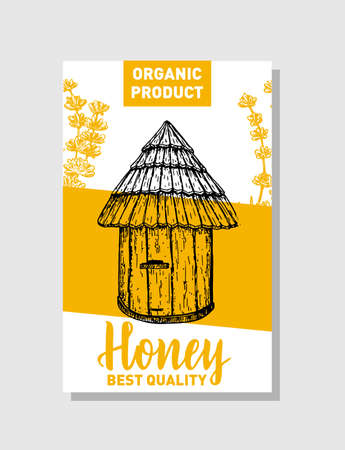 Vector sketch honey poster. Hand drawn vintage style Illustrations. Bee hive and honey plants. Card design template. Retro sketch style. Banco de Imagens - 150662894