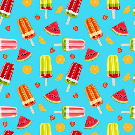 Ice cream and tropical fruits seamless pattern. Bright summer seamless pattern. Fruit ice and fruits vector illustration. Banco de Imagens - 150662899
