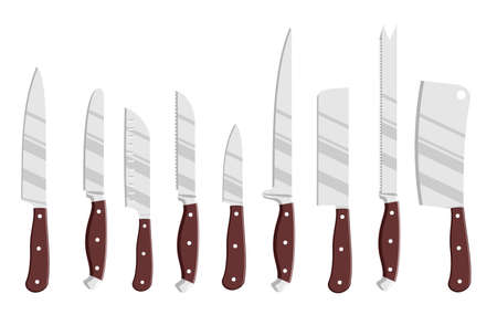 Set of steel kitchen knives. Isolated chef cook drawing knife set, butcher knifes tools vector illustration isolated on white background. Icon cutlery different kitchenware knives. chopping knives.