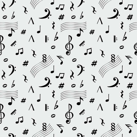 Abstract music seamless pattern background vector illustration. Music note icons drawn seamless pattern, retro sound background Ilustração