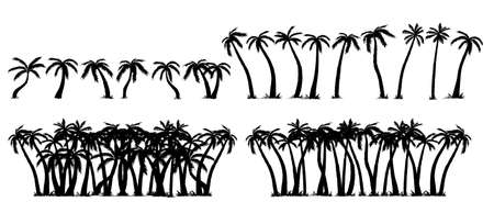 Vector set of tropical palm tree silhouettes, isolated on white background. Vector sketch illustration. Hand drawn tropical plants. Illusztráció