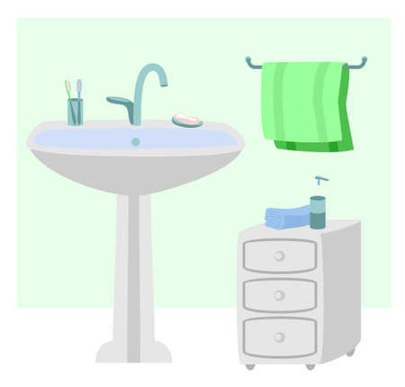 Sanitary room with sink, towels illustration. Interior of bathroom. Hygiene, a place for washing hands. Vector flat illustration