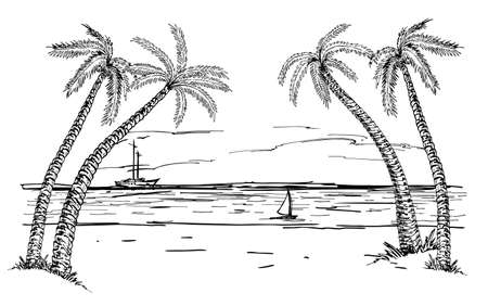Landscape with sea and palm trees sketch. Summer beach Hand drawn sketch. Summer vacation, vacation, travel concept.