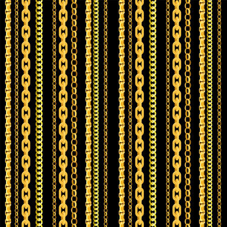 Seamless chain pattern. Gold chains elements, vector golden jewellery endless objects for necklaces and chains isolated on black background Ilustração