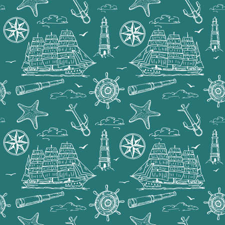 Seamless pattern with sailboat, anchor, steering wheel and lifebuoy. Marine pattern for fabric, clothes, background, textile, wrapping paper and other decoration.Vector sketch illustration. Banco de Imagens - 150662979