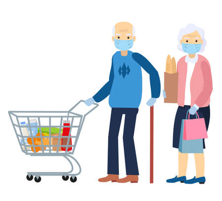 An elderly man and an elderly woman is in a grocery store, wear a mask. Protective measures under the conditions of coronavirus pandemic. Masked grandparents vector flat cartoon character isolated. Ilustração