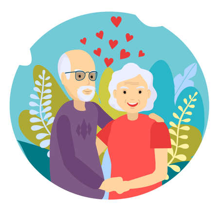 Elderly couple smiling. Old woman and old man couple embrace affectionately. Feeling happy of grandpa and grandmother retirement Age. Cheerful old male and female portrait in love. Vector illustration Banco de Imagens - 150662988