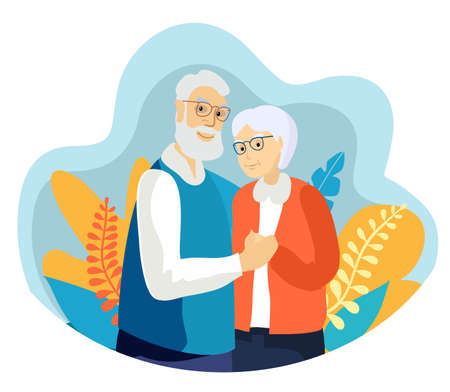 Elderly couple smiling. Old woman and old man couple embrace affectionately. Feeling happy of grandpa and grandmother retirement Age. Cheerful old male and female portrait in love Ilustração