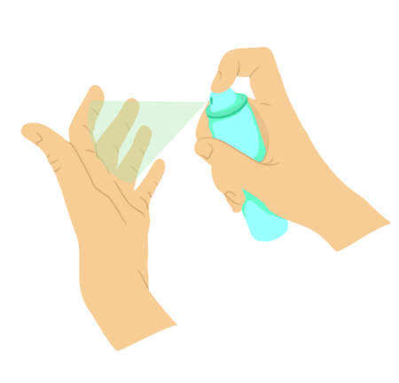 Hand disinfection personal protective equipment, disinfecting spray to prevent viruses, coronavirus. Health, cleanliness and body care. Hygiene Concept. Ilustração