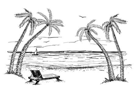 Landscape with sea and palm trees sketch. Summer beach Hand drawn sketch.