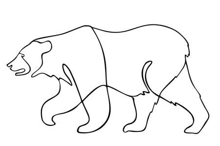 Continuous line going bear. Vector illustration. One single line drawing of bear for company identity. Modern continuous line vector draw design graphic illustration Ilustração