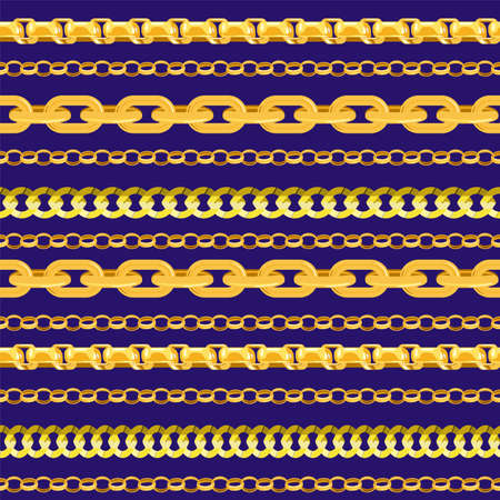 Horizontal chain seamless pattern. Gold chains elements, vector golden jewellery endless objects for necklaces and chains isolated on black background