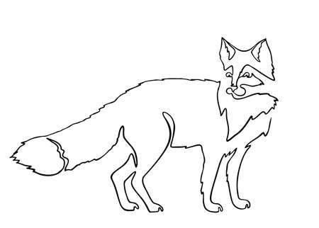 Continuous one line drawing Fox. Continuous black outline drawing on white background.  Vector illustration