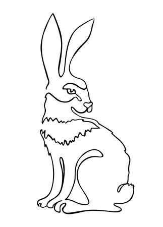 Continuous one line drawing rabbit hare. Continuous black outline drawing on white background.