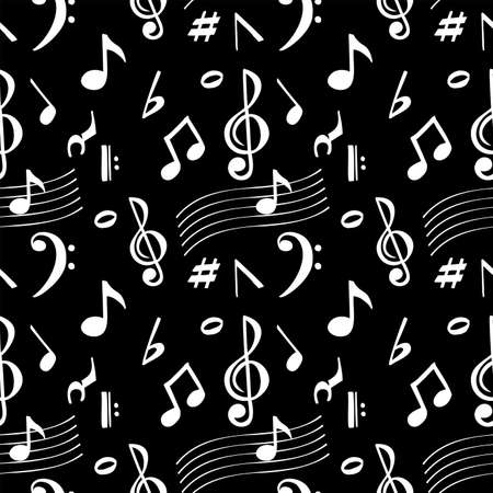 Musical notes seamless pattern. Seamless pattern of white symbols of notes on a black background.