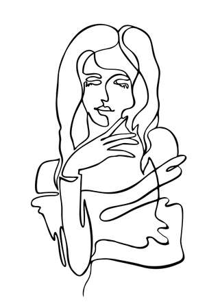 Continuous line drawing of beautiful woman on white background