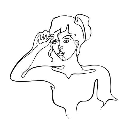 Continuous line drawing of beautiful woman on white background Banco de Imagens - 152426382