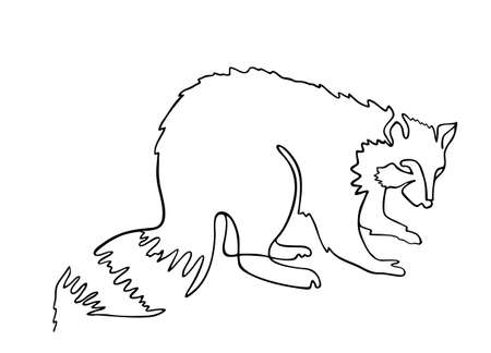 Raccoon one line drawing. One continuous line drawing of raccoon for company  identity. Abstract minimal line art. Funny raccoon animal mascot concept for icon. Single line vector illustration