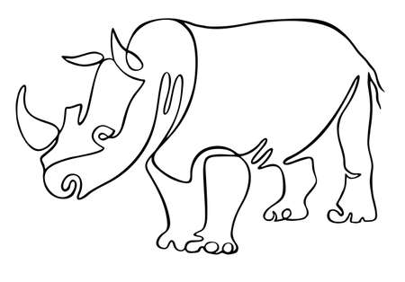 Rhino one line drawing. One continuous line drawing of strong white rhinoceros for company  identity. Abstract minimal line art. Editable line