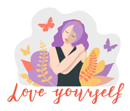 Love yourself. Love your body concept. Take time for your self. Relax. Woman hugging herself. Vector lifestyle concept card with text love yourself.
