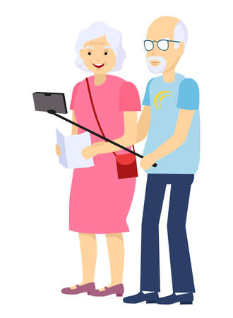 Grandparents tourists. Elderly Couple Vector. Taking Selfie. Grandfather And Grandmother. Face Emotions. Happy People Together. Isolated Flat Cartoon Illustration Ilustração