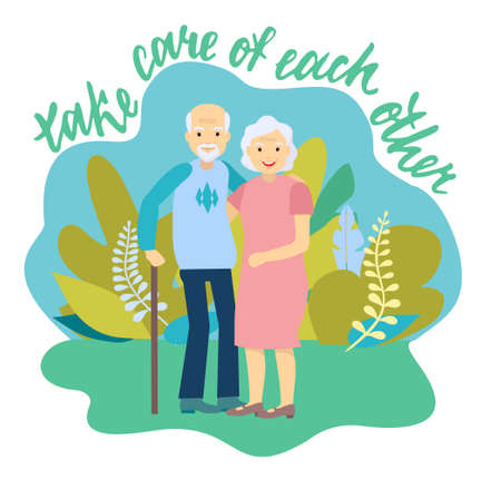 Caring elderly couple. Joyful nice elderly couple smiling while being in a great mood. Happy grandparents cheering adults, cheerful old male and female portrait in love, smiling elderly seniors hug Banco de Imagens - 152426388