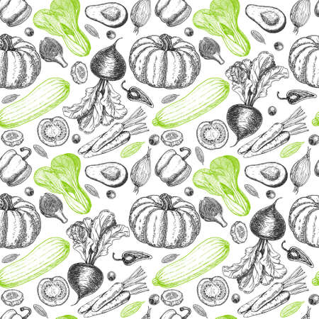 Seamless pattern with sketch of vegetables and spices. Vegetables background. Healthy food. Vegetables on white background. Vector illustration