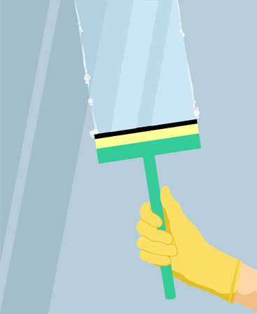 Wash glass window concept banner. Hand in a yellow glove with squeegee, scraper, wiper washes a window. Cartoon illustration of wash glass window vector concept banner for web design