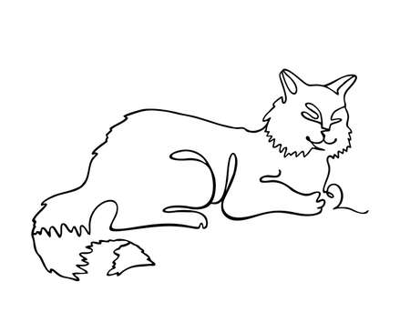 Cat one line drawing. One continuous line drawing of cat for company  identity. Abstract minimal line art. Funny cat animal mascot concept for icon. Single line vector illustration Ilustração