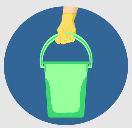 Hand with rubber glove and bucket housekeeping accessory vector illustration design. House cleaning concept.