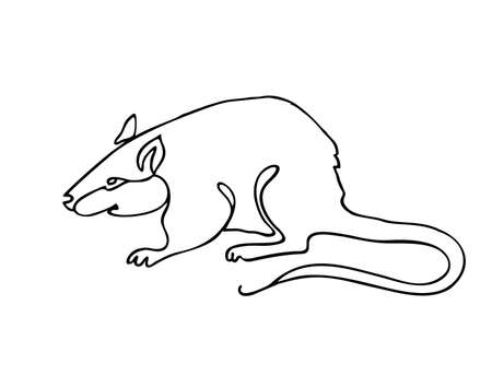 Mouse one line drawing. One continuous line drawing of rat for company  identity. Abstract minimal line art. Funny mouse animal mascot concept for icon. Single line vector illustration