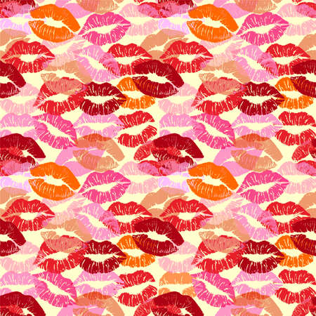 Lipstick kiss print isolated seamless pattern. Vector lips set. Different shapes of female sexy red lips. Sexy lips makeup, kiss mouth. Female mouth. Print of lips kiss vector background.