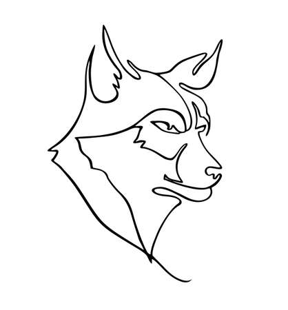 One line drawing of wolf head for hunter club  identity. Wolves mascot concept for national zoo  . Trendy continuous line animal mascot concept for icon. Single line vector illustration