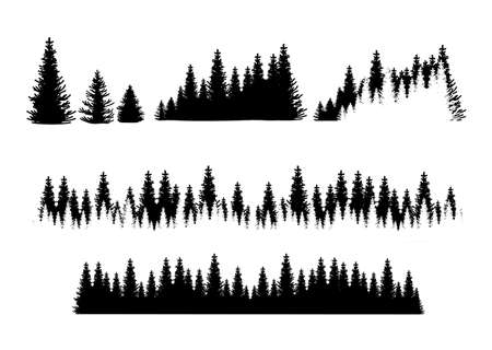 Set of forest silhouetts. Tree collection, Forest silhouette, isolated on white, vector illustration.