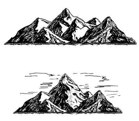 Set of black and white mountain. Silhouettes of the mountains, highlands, rocky landscapes, hills on white background. Vector set of outdoor design elements.