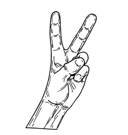 Peace Hand sketch. Sign of peace. Counting hand isolated on white background. Gesture with fingers lifted up showing number two.