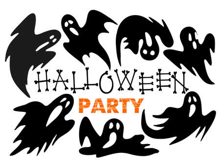 Happy Halloween art banner with scary ghost cartoon silhouettes. Vector illustration. Holiday design with hand lettering greeting. Party poster, banner, label