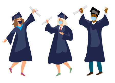 Students in medical mask. Graduates in protective medical masks celebrate 2020 graduation during coronavirus quarantine. Boys and girls having fun jump and toss up mortarboards and diplomas