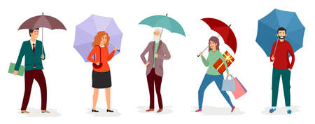 Men and girls holding an umbrella in the rain. Vector illustration on white background in flat style. set