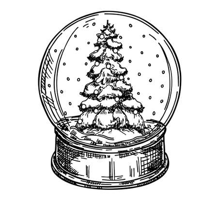Toy glass snow globe with winter tree inside. Winter decorative Hand drawn vector illustration Stock Illustratie