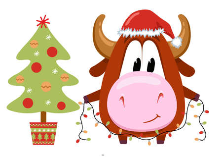 The symbol of 2021 is cute cow or bull. Character for a children s book or postcard. A calf in a red hat decorating a Christmas tree.