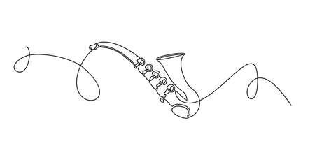 Saxophone classical music instrument one continuous line hand drawing vector. Vektorgrafik
