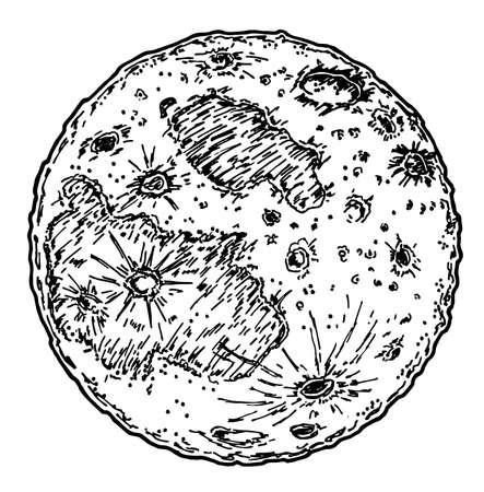 sketch of moon planet. tattoo for print design vector illustration Illusztráció