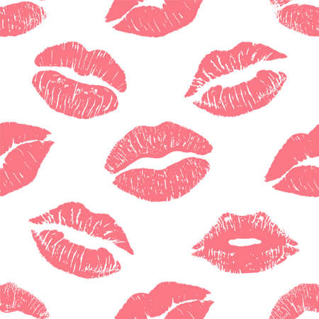 Fashion seamless pattern with printed lips kisses, lips prints wrapping paper. World kiss day, Valentine s day