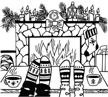 Feet in wool socks by the Christmas fireplace. Christmas fireplace with Xmas and New Year winter holidays gifts, Santa stockings and fir tree garland, clock and candle. Christmas holidays concept.