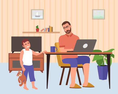 hildren interfere with work, difficulties with remote work. Son interferes with dad s work, quarantine. Man working remotely from home use computer. Vector flat style illustration.