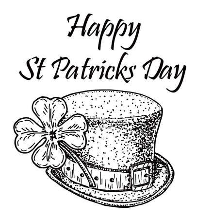 Saint Patrick Day decoration. Cloverleaf and green hat. Saint Patrick Day typographical sketch background