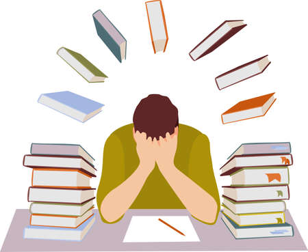 Tired student. Mental stress, education, preparation, frustration, learning concept. Tired depressed frustrated guy student has fear before exam or university tests. Stressful time in study process.