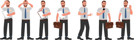 Businessman character design set. Manager is busy different things. Isolated on white background Vector