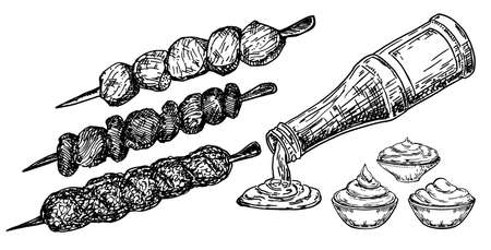 Delicious kebab with tomato sauce. Vector sketch illustration of doner kebab ingredients. Grilled BBQ food. Barbecue kebabs on a skewer set. Hand drawn illustration on white background